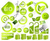 Big Set of green environmental icons — Stock Vector