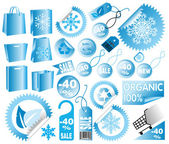 Set of vector sale winter tags — Stock Vector