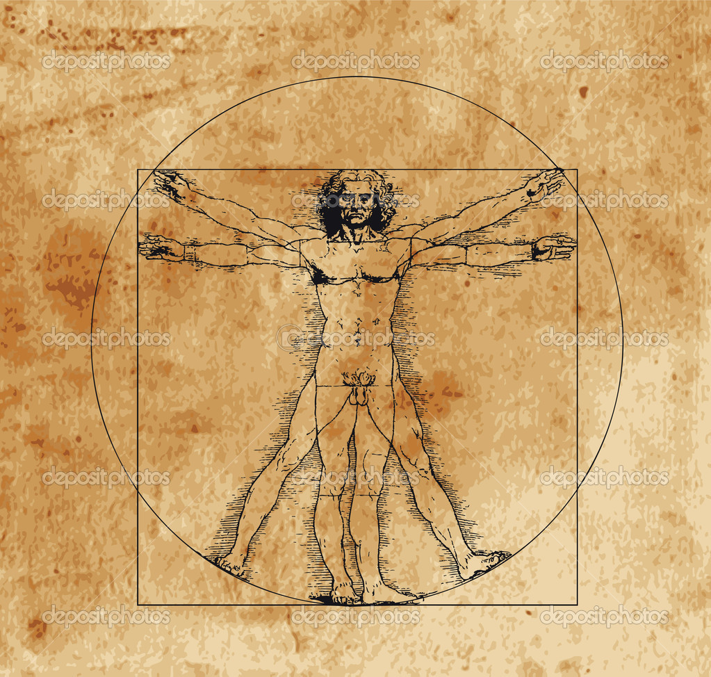 A highly stylized drawing of vitruvian man with crosshatching and sepia tones — Stock Vector #2181297