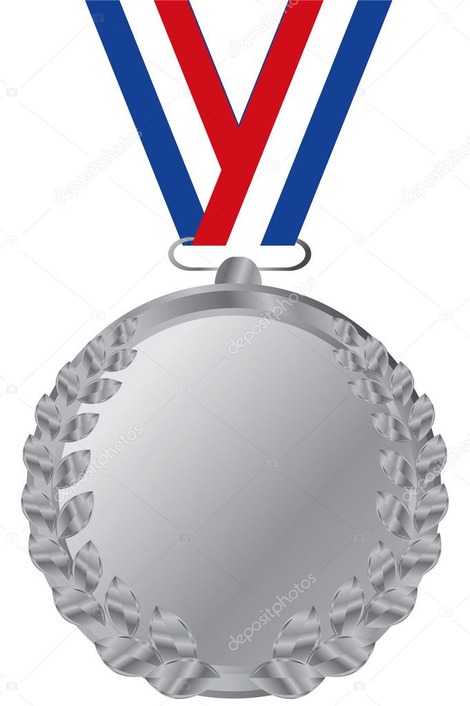 Silver medal with tricolor ribbon — Stock Vector #2181475
