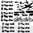 Vector collection of transportation silh — Stock Vector