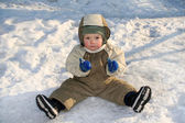 Boy on snow — Stock Photo