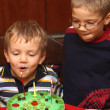 Stock Photo: Two boys is blowing candles