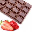 Strawberries with chocolate — Stock Photo