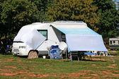 Modern caravan on camp in Croatia — Stock Photo