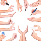 Set di gesti di mano, isolato — Foto Stock