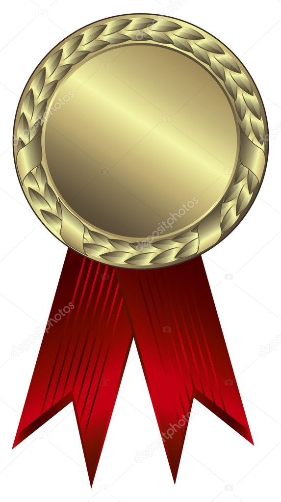 Gold award ribbons - This image is a vector illustration and can be scaled to any size without loss of resolution — Stock Vector #2607851