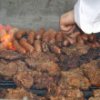Close up of grilled meat and sausage - Zdjcie stockowe