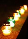 Closeup of votive candles — Stock Photo