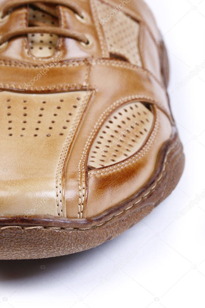 Male leather shoes isolated in white - close up  Stock Photo #2672232