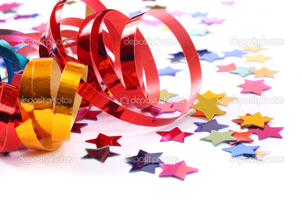 Stars in the form of confetti  with streamers on white — Stock Photo #2673021