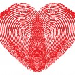 Romantic heart made of fingerprints — Stock Vector