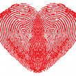 Stock Vector: Romantic heart made of fingerprints