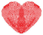 Romantic heart made of fingerprints — Stockvector