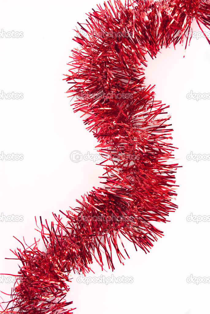 Red tinsel isolated on a white background — Foto Stock #2295737