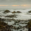 Stock Photo: Sunset over waves and rocks