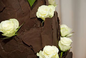 Brown chocolate wedding cake — Stock Photo