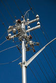 Electricity pole with wires — Stock Photo