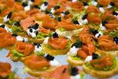 Salmon and caviar starters — Stock Photo