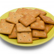 Cracker on saucer — Stock Photo