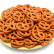 Pretzels on saucer — Stock Photo