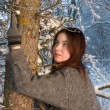 Stock Photo: Beautiful girl in winter forest