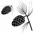 Vector illustration of pinecone wood nat — Stockvectorbeeld