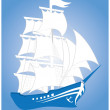 Floating blue fantastic ship - Stock Vector