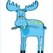 Stock Vector: Sad blue elk