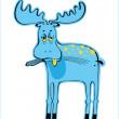 Sad blue elk — Stock Vector