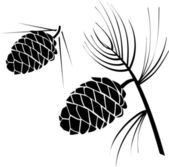 Vector illustration of pinecone wood nat — Vecteur