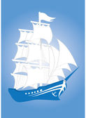 Floating blue fantastic ship — Stock Vector