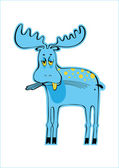 Sad blue elk — Stock Vector
