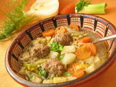 Vegetable soup with fennel and meatball — Stock Photo