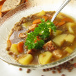 Home-made lentil soup - Stock Photo