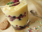 Vanilla pudding with berries — Stock Photo