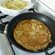 Pancake with stewed apples — Stock Photo