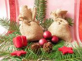 Little christmassy present bags — Stock Photo