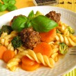 Pasta with vegetables and meat balls — Stock Photo