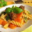 Royalty-Free Stock Photo: Pasta with vegetables and meat balls
