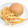 Stock Photo: Hamburger and fries