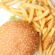 Stock Photo: Hamburger with french fries