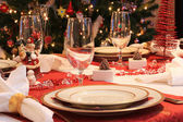 Table set for christmas — Stock Photo