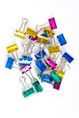 Colorful paperclips on white — Stock Photo