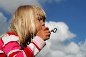 Bubble blowing — Stock Photo
