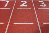 Track and field lanes — Stock Photo
