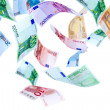 Flying Euro money — Stock Photo