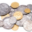 Stock Photo: old gold and silver coins isolated on wh