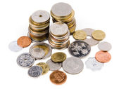 Heap of coins from all over the world — Stock Photo