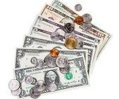 Amerikan banknot ve madeni paralar — Stok fotoğraf